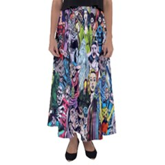 Vintage Horror Collage Pattern Flared Maxi Skirt by BangZart