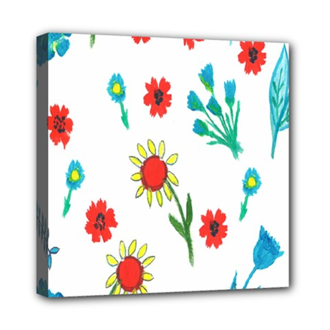 Flowers Fabric Design Mini Canvas 8  X 8  by BangZart