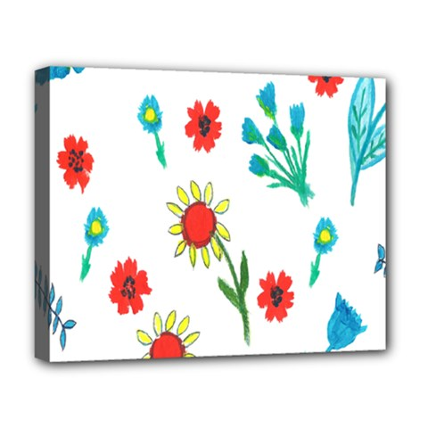 Flowers Fabric Design Deluxe Canvas 20  X 16   by BangZart