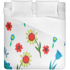 Flowers Fabric Design Duvet Cover (king Size) by BangZart