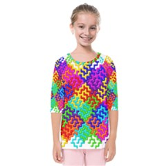 3d Fsm Tessellation Pattern Kids  Quarter Sleeve Raglan Tee