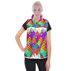 3d Fsm Tessellation Pattern Women s Button Up Puffer Vest