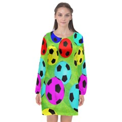 Balls Colors Long Sleeve Chiffon Shift Dress  by BangZart