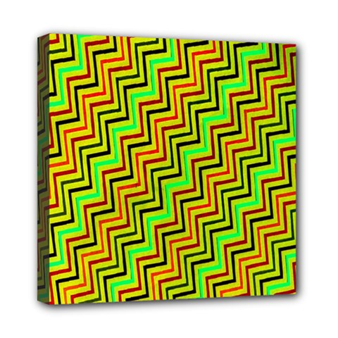 Green Red Brown Zig Zag Background Mini Canvas 8  X 8