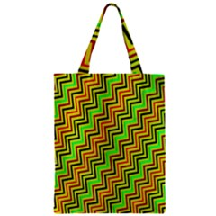 Green Red Brown Zig Zag Background Zipper Classic Tote Bag by BangZart