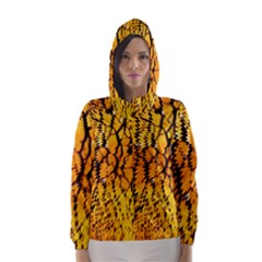 Yellow Chevron Zigzag Pattern Hooded Wind Breaker (women) by BangZart