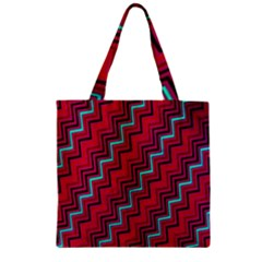 Red Turquoise Black Zig Zag Background Zipper Grocery Tote Bag by BangZart