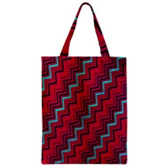 Red Turquoise Black Zig Zag Background Zipper Classic Tote Bag by BangZart