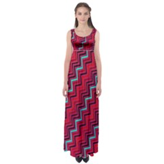 Red Turquoise Black Zig Zag Background Empire Waist Maxi Dress