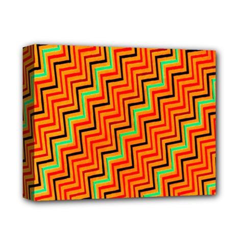 Orange Turquoise Red Zig Zag Background Deluxe Canvas 14  X 11  by BangZart