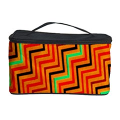 Orange Turquoise Red Zig Zag Background Cosmetic Storage Case by BangZart