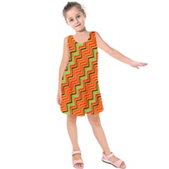 Orange Turquoise Red Zig Zag Background Kids  Sleeveless Dress by BangZart