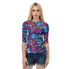 Hipster Pattern Animals And Tokyo Quarter Sleeve Tee by BangZart