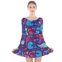 Hipster Pattern Animals And Tokyo Long Sleeve Velvet Skater Dress by BangZart