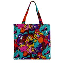 Monster Patterns Zipper Grocery Tote Bag by BangZart