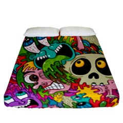Crazy Illustrations & Funky Monster Pattern Fitted Sheet (queen Size) by BangZart