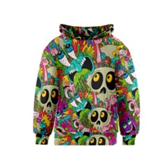 Crazy Illustrations & Funky Monster Pattern Kids  Pullover Hoodie by BangZart