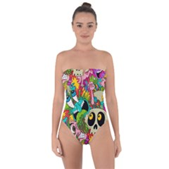 Crazy Illustrations & Funky Monster Pattern Tie Back One Piece Swimsuit