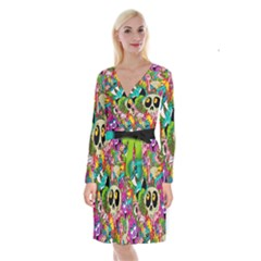 Crazy Illustrations & Funky Monster Pattern Long Sleeve Velvet Front Wrap Dress