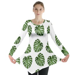 Leaf Pattern Seamless Background Long Sleeve Tunic  by BangZart