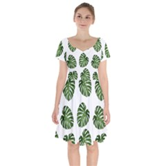 Leaf Pattern Seamless Background Short Sleeve Bardot Dress