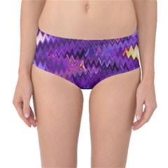 Purple And Yellow Zig Zag Mid Waist Bikini Bottoms by BangZart