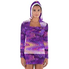 Purple And Yellow Zig Zag Women s Long Sleeve Hooded T-shirt by BangZart