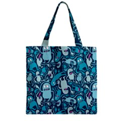 Monster Pattern Zipper Grocery Tote Bag by BangZart