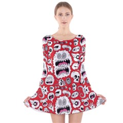 Another Monster Pattern Long Sleeve Velvet Skater Dress