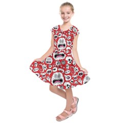 Another Monster Pattern Kids  Short Sleeve Dress by BangZart