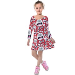 Another Monster Pattern Kids  Long Sleeve Velvet Dress by BangZart