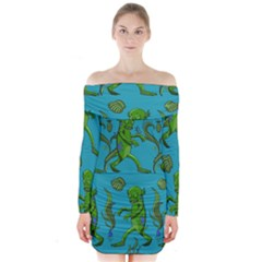 Swamp Monster Pattern Long Sleeve Off Shoulder Dress