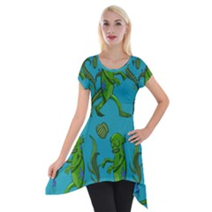Swamp Monster Pattern Short Sleeve Side Drop Tunic by BangZart