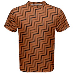 Brown Zig Zag Background Men s Cotton Tee by BangZart