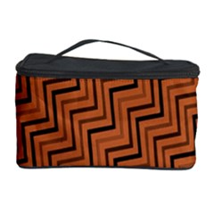 Brown Zig Zag Background Cosmetic Storage Case by BangZart