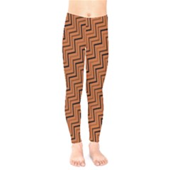 Brown Zig Zag Background Kids  Legging by BangZart