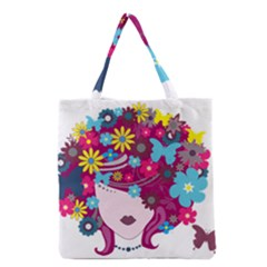 Beautiful Gothic Woman With Flowers And Butterflies Hair Clipart Grocery Tote Bag by BangZart