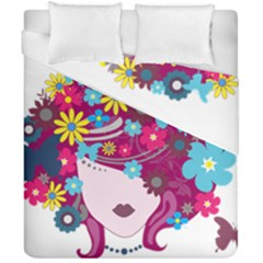 Beautiful Gothic Woman With Flowers And Butterflies Hair Clipart Duvet Cover Double Side (california King Size) by BangZart