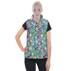 Monster Party Pattern Women s Button Up Puffer Vest