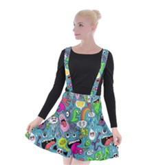 Monster Party Pattern Suspender Skater Skirt by BangZart
