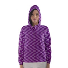 Zig Zag Background Purple Hooded Wind Breaker (women) by BangZart