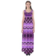 Purple Pink Zig Zag Pattern Empire Waist Maxi Dress