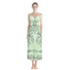 Illustration Of Butterflies And Flowers Ornament On Green Background Button Up Chiffon Maxi Dress
