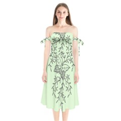 Illustration Of Butterflies And Flowers Ornament On Green Background Shoulder Tie Bardot Midi Dress