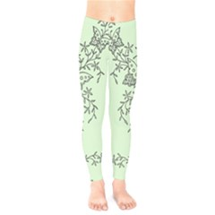 Illustration Of Butterflies And Flowers Ornament On Green Background Kids  Legging