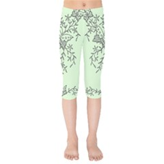 Illustration Of Butterflies And Flowers Ornament On Green Background Kids  Capri Leggings  by BangZart