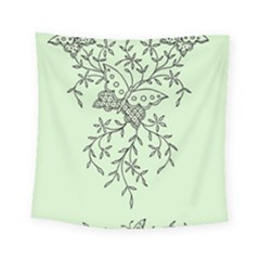 Illustration Of Butterflies And Flowers Ornament On Green Background Square Tapestry (small) by BangZart
