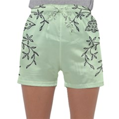 Illustration Of Butterflies And Flowers Ornament On Green Background Sleepwear Shorts