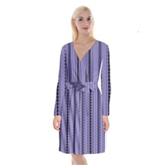 Zig Zag Repeat Pattern Long Sleeve Velvet Front Wrap Dress