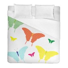Beautiful Colorful Polka Dot Butterflies Clipart Duvet Cover (full/ Double Size) by BangZart